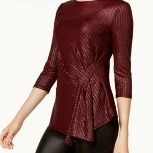 Maroon Metallic Waist Clenched Blouse Tunic NWT